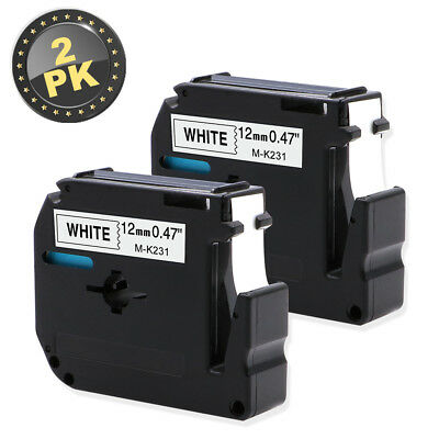 "2x M-K231 Compatible for Brother P-touch Label MK231 Black/White 12mm 1/2"" Tape"