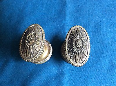 Antique Pair Of Brass Door Knobs With Detailed Design Reclaimed
