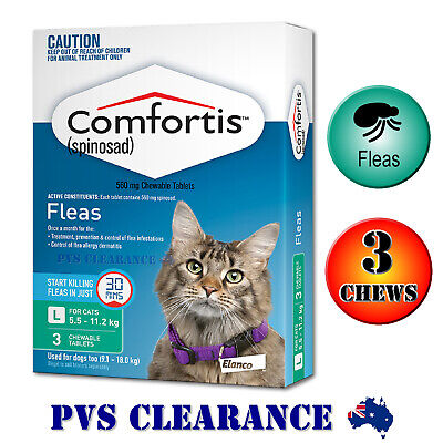 Comfortis Green 3 for Cats 5.5 - 11.2 kg - 3 Chews - Fast Acting Flea Treatment