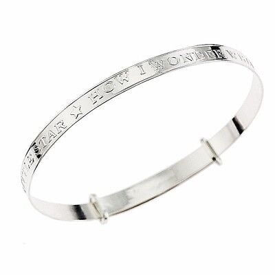 925 Sterling Silver Baby Bangle  Presentation Musical Box Twinkle Twinkle tune