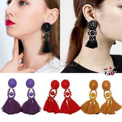 Women Fashion Rhinestone Long Tassel Dangle Earring Boho Fringe Drop Earrings