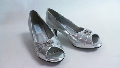 Dyeables Wedding Shoes - Silver Shimmer Peep Toe - Kristin - US 8 EE UK 6 #5L332
