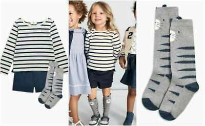 NEXT Outfit Girls 3 Piece Set Shorts Top And Cat Socks 9-12 Months BNWT