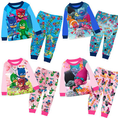 PJ MASKS Pyjamas TROLLS Kids Boys Girls Long Sleeve  PJMS Set1-8 years UK STOCK!