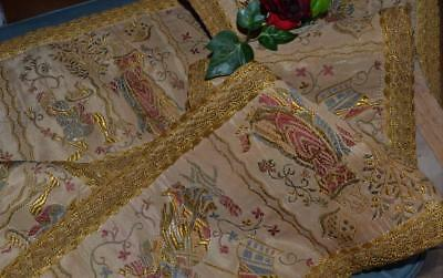 Vintage antique gold brocade curtain pelmet medieval style knights lady armorial