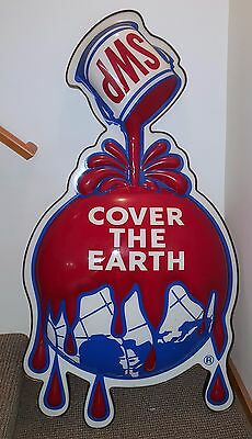 "Sherwin Williams Paint (SWP) Sign ""Cover the Earth"" plastic w/ metal frame"