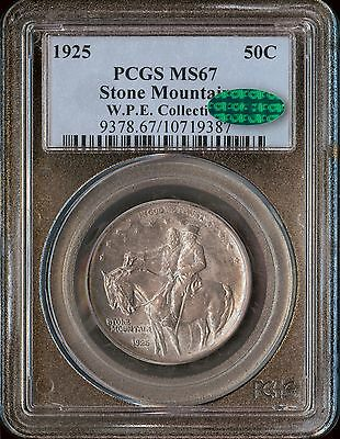 1925 50C Stone Mountain Silver Commemorative PCGS MS67 and CAC