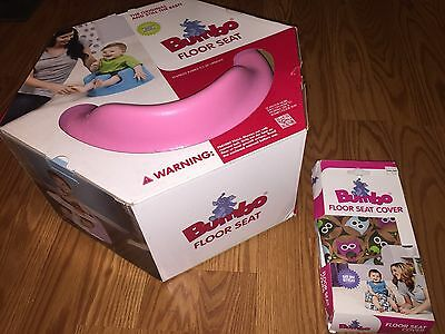 "NEW Bumbo Baby Floor Seat Pink w/ NEW Bumbo Seat Cover ""Owls"" Babies Sit Upright"
