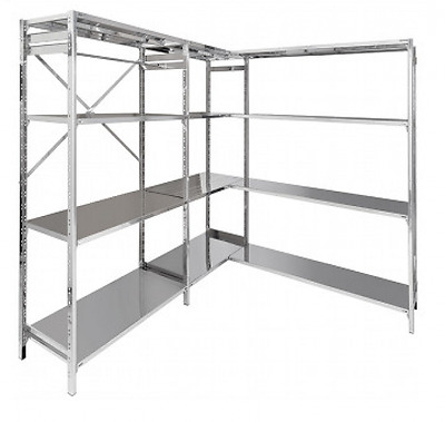 Shelf stainless steel shelves 130X30X150H cm modular with hooks Office Forniture