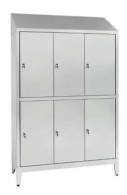 Wardrobe changing room stainless steel AISI 304 6 places 6 doors 120X50X215H