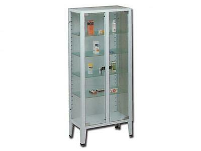 Showcase Structure Steel Tempered Glass 2 Doors 4 Adjustable Shelves 75X38X169H