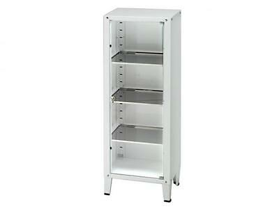 Steel Cabinet With Glass Door And Three Adjustable Shelves Cm. 52X35X138