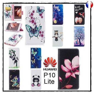 Etui porte cartes coque housse Cuir PU Leather Wallet case cover Huawei P10 Lite