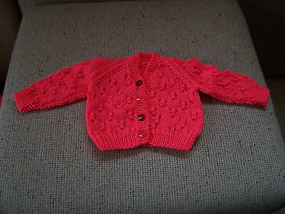 New Hand Knitted Baby Cardigan Bright Coral  0- 3 Months Approx