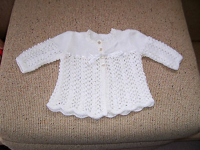 New Hand Knitted Baby Jacket  Pale  Cream 3 -6  Mths App