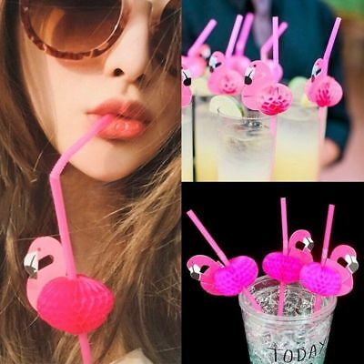 AU 5-50pcs Flamingo Cocktail Drinking Straw Hawaiian Party Luau Fun Accessories