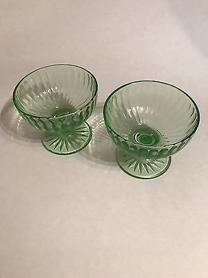 2 Footed Sherbet Glass Cups panel colonial block optic rib green uranium 1920s