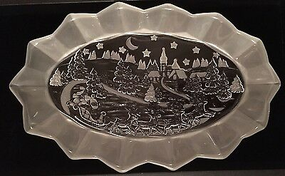 "Mikasa Frosted Glass Holiday Classics 11 3/4"" Oval Platter w/Box Nice Gorgeous"