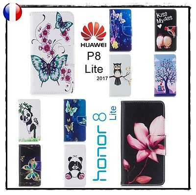 Etui porte cartes coque housse Leather Wallet case cover Huawei P8 Lite 2017