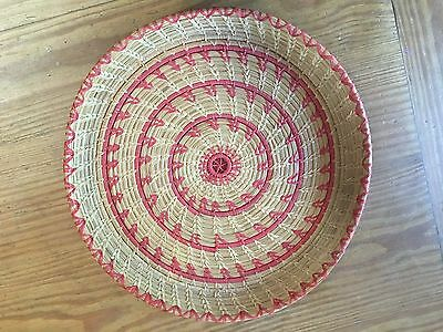 Vintage Hand Woven Serving Basket With Red Pattern--Really Nice!