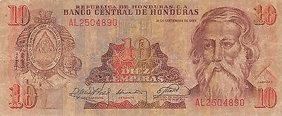 Honduras 10 Lempiras 21.9.1989  Series AL  circulated Banknote