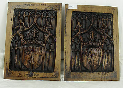 pair 19thC GOTHIC WOODEN OAK PANEL carved  heraldic crowns manor castle n°6
