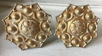 ANTIQUE VINTAGE CURTAIN TIE BACK MEDALLION CAST BRASS & WOOD Set Of 2