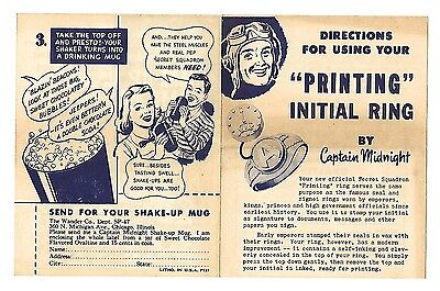1948 Captain Midnight Ovaltine Printing Initial Ring instructions radio premium