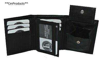 Boys Slim Compact Flap Id and Coin Pocket Trifold Wallet Black