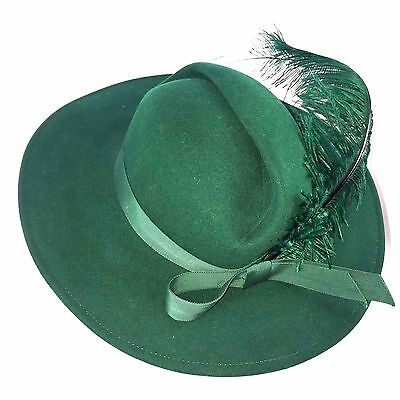 Womens Vintage 40's Mr John Dark Green Felt Hat with Feather