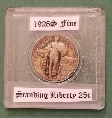 1928-S STANDING LIBERTY QUARTER FINE details on 2 x 2 plastic holder. Nice coin!