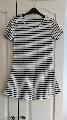 Size M Extra Long Striped Black White top Dress Unusual Grunge