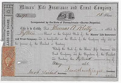 PENNSYLVANIA 1866 Miners' Life Insurance & Trust Company Stock Certificate #78