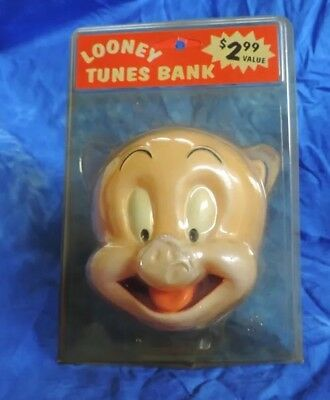 Vintage 1997 Porky the Pig Bank in original packaging