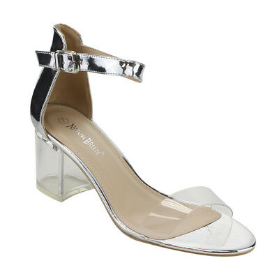 Women's Lucite Chunky Heel Ankle Strap Dress Sandals SILVER Size 6