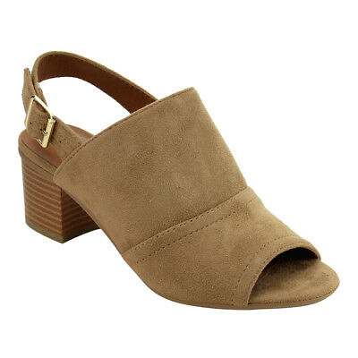 Women's Buckled Ankle Strap Stacked Block Heels NATURAL Size 10