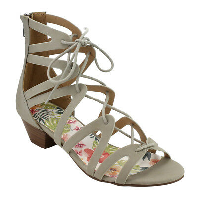 Women's Lace Up Caged Strappy Stacked Chunk Heel Sandal LIGHT GREY Size 9