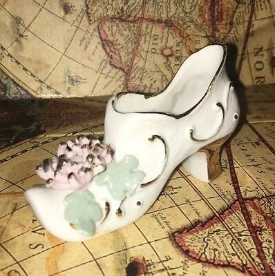 VINTAGE MINIATURE PORCELAIN PINK AND GOLD High Side SHOE Made in JAPAN Nice Rare