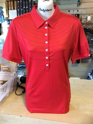 Cross Ladies Polo Shirt Red With Stripes Pattern Size 12