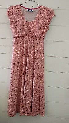 Majamas Lucy Nursing Dress Gown Discreet Sz S Pink Tan Purple PJs Modest Travel