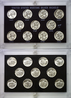 1942-P To 1945-S 11 Coin Silver War Nickel Set Uncirculated Capitol C1 Holder