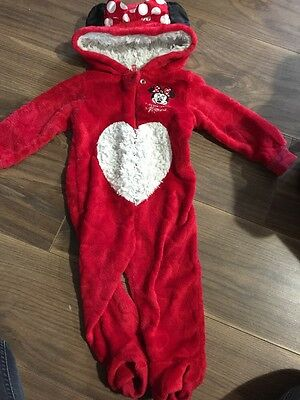 Girls Minnie Mouse Sleepsuit/playsuit All In One  9-12months