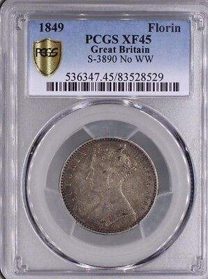 1849 Queen Victoria Great Britain Silver Godless Florin Coin PCGS XF45 TONED