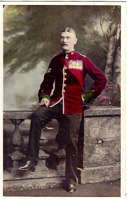 Original Boer War British Army Sergeant Colour Tinted Studio Photo