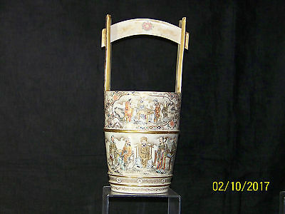 Antique Japanese Meiji Period Satsuma Hand Done Porcelain Basket Signed