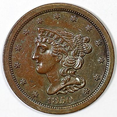 1850 c-1 R2- Braided Hair Half Cent Copper Coin 1/2c