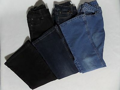 3 LOT Faded Glory Girls sz 10R Bootcut Flare Jeans Stretch light dark wash black