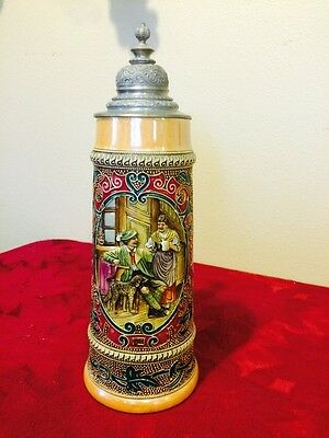 COLLECTORS GORGEOUS DETAIL LATE 1800's BEER STEIN. STAMPED 2L. WITH ORNATE LID.