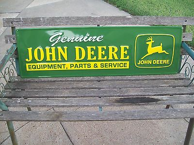 Large John Deere Tractor Implement Parts Service  Metal Alum. Embossed Sign USA