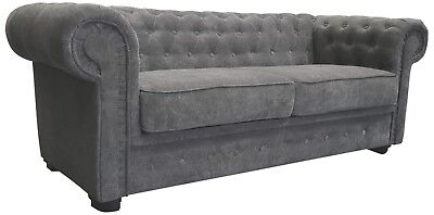 Brand New Venus Chesterfield Style 2 Seater Sofa Bed Fabric Grey Cream Brown